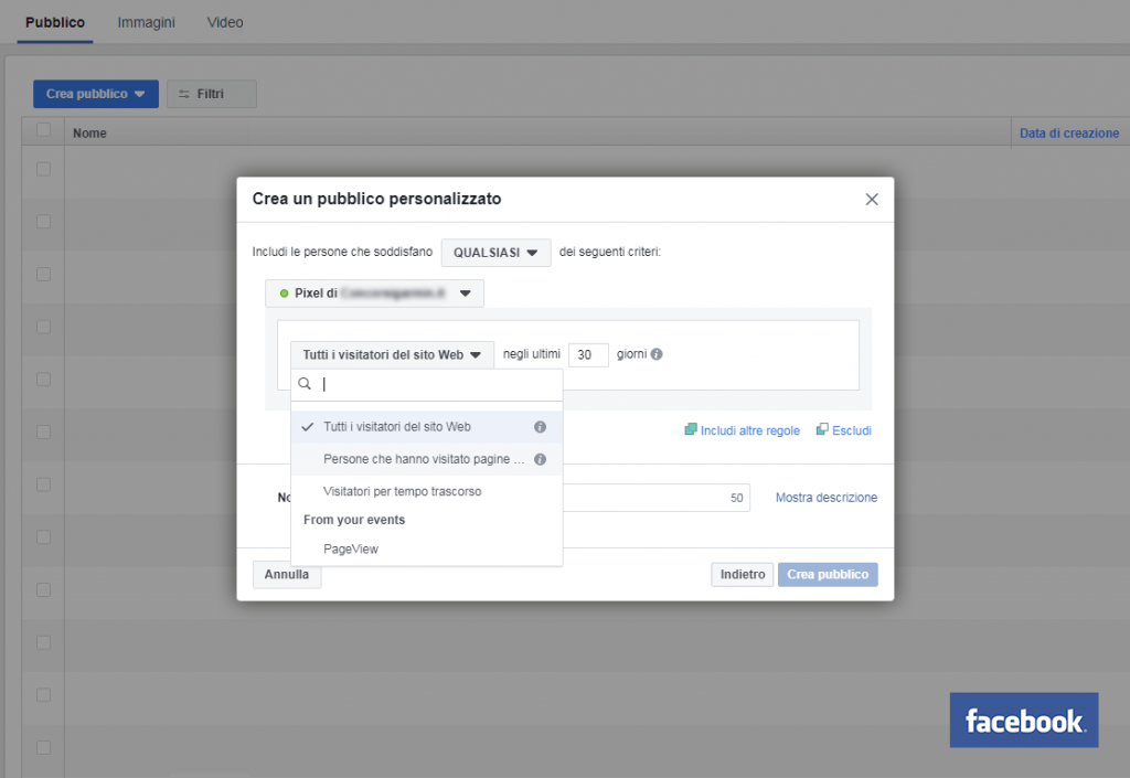 criteri per facebook remarketing